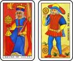 Queen of Cups and Page of Coins